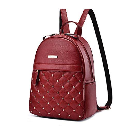 Womens Handbags Backpack Shoulder Bags Handbags Backpack School Bag Laptop Leather Burgundy Piszkosfehér