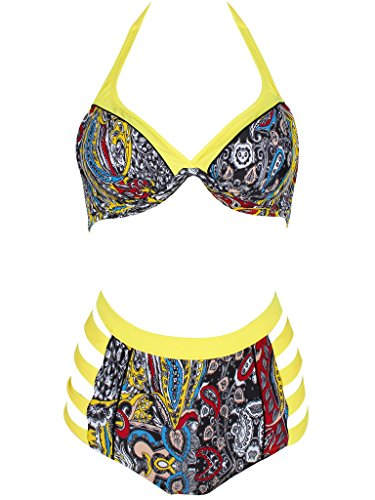 Bikini, Swimsuit, Abary Women 2 Piece Set Floral Plus Size Bathing Suit Yellow 50(US 14-16)