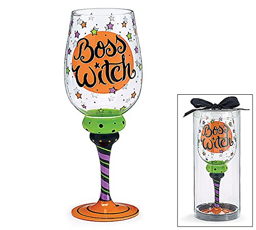 Boss Witch Halloween Party 20-ounce Wine Glass Boxed Gift