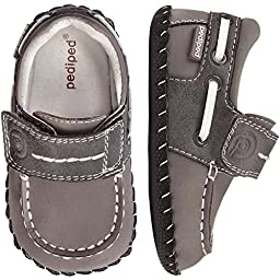 pediped Originals Norm Boat Shoe (Infant),Grey,X-Small (0-6 Months E US Infant)