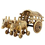 Handmade Brass Bull Cart Figurine Set- 5 Inch x 10 Inch x 5 Inch - Artisan Crafted in North India