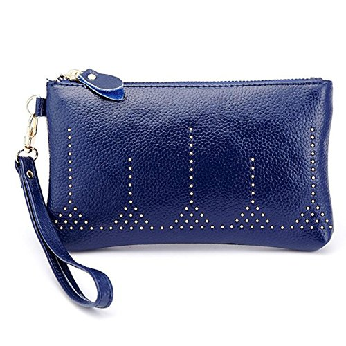Long Organizer Capacity Large Coin with Zipper Elegant Wrist Blue with Clutch Strap Card Purse Wallet Bag Credit DcSpring Women's Leather Ladies Genuine qxTw4AT7z