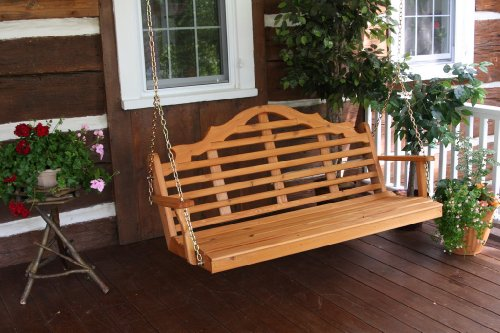 (Cedar 6 Foot Marlboro Porch Swing - STAINED- Amish Made USA -Redwood)