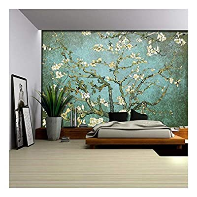 Aqua with Teal Vignette Almond Blossom by Vincent...