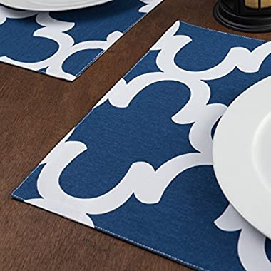 Navy Blue & White Trellis Placemats 4/Pack