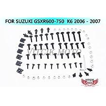 VITCIK Full Fairings Bolt Screw Kits for Suzuki GSXR 600 750 K6 2006 2007 GSXR 600 750 K6 06 07 Motorcycle Fastener CNC Aluminium Clips (Black & Silver)