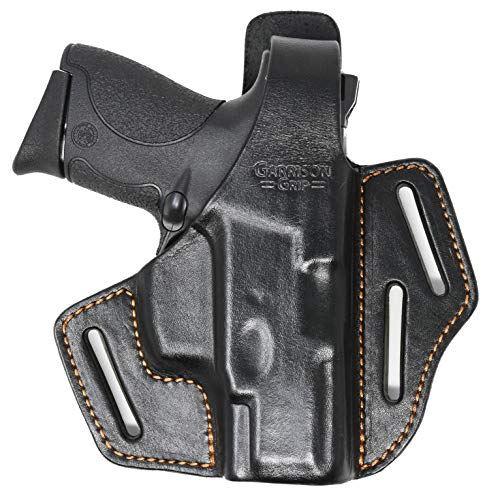 Garrison Grip Premium Full Grain Italian Leather 2 Position Tactical Holster (BLK) Fits S&W M&P Shield 9