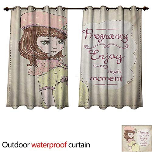 WilliamsDecor Quotes Outdoor Ultraviolet Protective Curtains Pregnancy Enjoy Every Single Moment Clipart Pregnant Woman Dress Hat W63 x L63(160cm x 160cm)