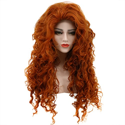 Karlery Women's Fluffy Long Curly Orange Wig Halloween
