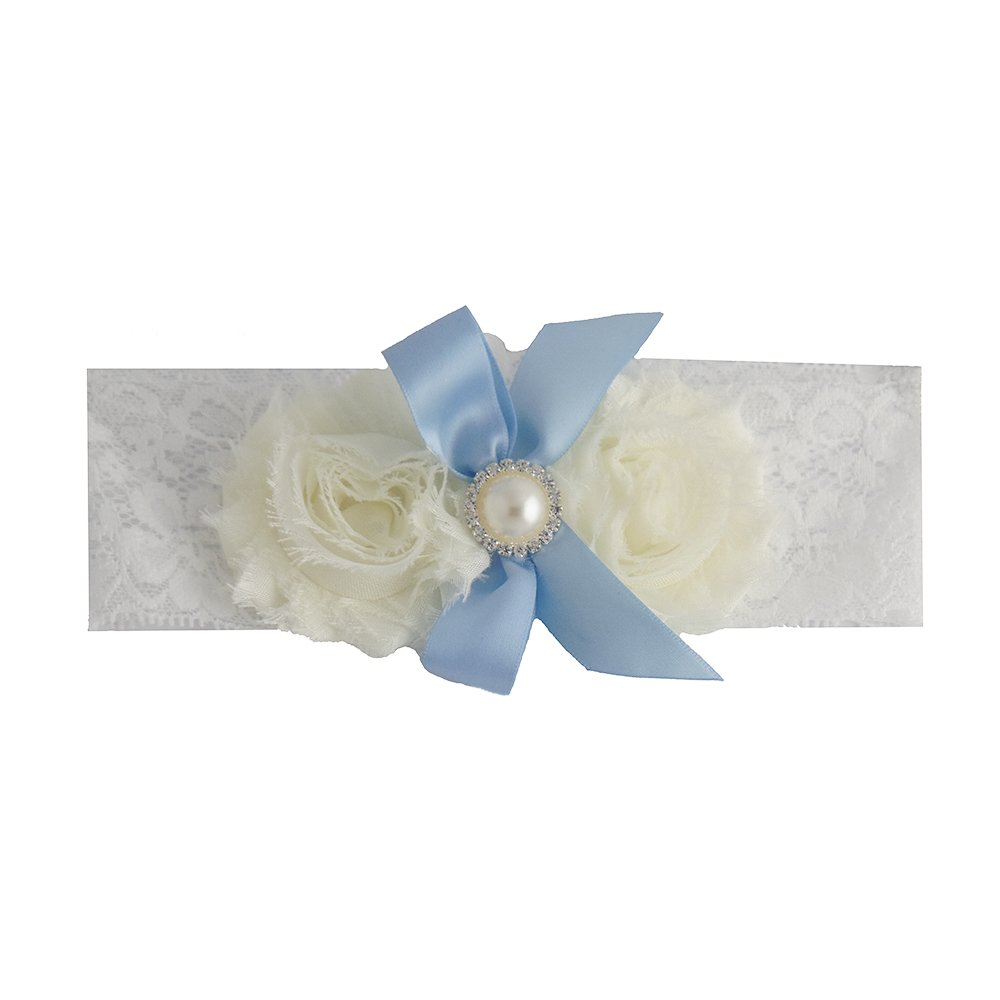 Vintage White and Blue Bride Wedding Garter with Flower and Ribbon Gifts Are Blue