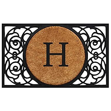 Home & More 180031830H Armada Circle Doormat, 18  x 30  x 1 , Monogrammed Letter H, Natural/Black