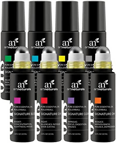 ArtNaturals Essential Oils Roller Bottles Blend Set Aromatherapy Roll On with Stainless Steel Roller Balls Made with Jojoba Oil, Assists with Sleep, Headache, Calming, Moods, 10 mL, 8 Piece