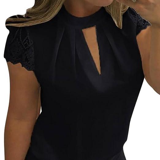 d7b96c02b26 Hot Sale! Women s Plus Size Keyhole Front Floral Lace Short Sleeve Elegant Blouse  Shirt (