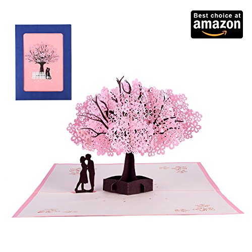 Card Blossom (3D Pop Up Handmade Cherry Blossom Greeting Cards Romantic Cards for Girl's Birthday, Mother's Day, Valentine's Day Wedding Invitation Anniversary Greeting ,Thank you Greeting Cards (Cherry Blossom))