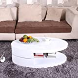 OSPI BN 360° Rotatable Top Turnplate High Gloss White Coffee Table Livingroom Storage (39.4''23.62''12.99'')