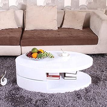OSPI BN 360° Rotatable Top Turnplate High Gloss White Coffee Table  Livingroom Storage (39.4