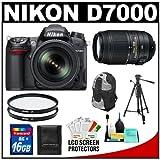 Nikon D7000 16.2 MP Digital SLR Camera and 18-105mm VR DX AF-S Zoom Lens with 55-300mm VR Lens + 16GB Card + Filters + Backpack Case + Tripod + Accessory Kit, Best Gadgets