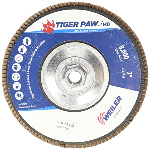 Weiler 51169 Tiger Paw XHD Super High Density Abrasive Flap Disc, Type 27 Flat Style, Phenolic Backing, Zirconia Alumina, 7