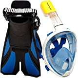 COZIA Design Snorkel Set with Snorkel MASK - Swim FINS Included - Free Breathing Snorkel MASK Full FACE 180° Panoramic View Full face Snorkel mask and Open Heel Snorkel fins