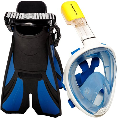 COZIA Design Snorkel Set with Snorkel MASK Swim FINS Included Free Breathing Snorkel MASK Full FACE 180 Panoramic View Full face Snorkel mask and Open Heel Snorkel fins Blue -