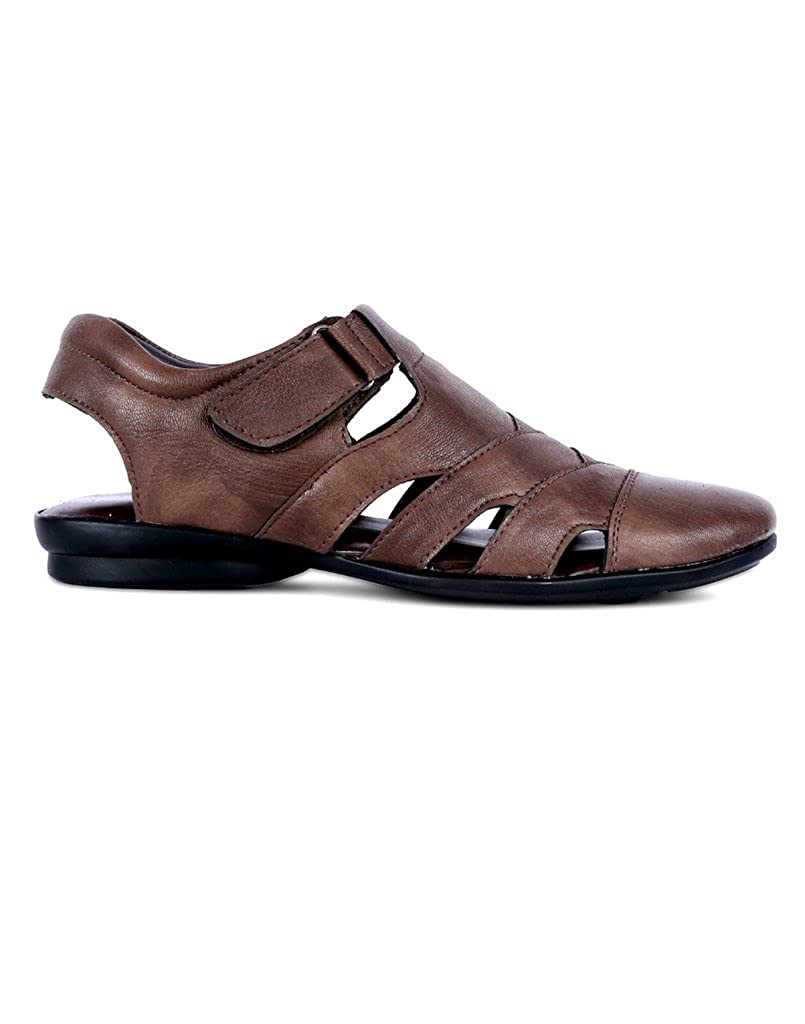 576d7ddb36c1 Peponi Men s Faux Leather Brown Sandals  Buy Online at Low Prices in India  - Amazon.in