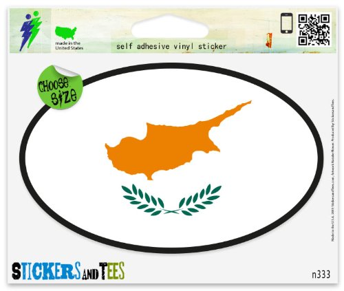 Cyprus black Flag oval Car Sticker Indoor Outdoor 5