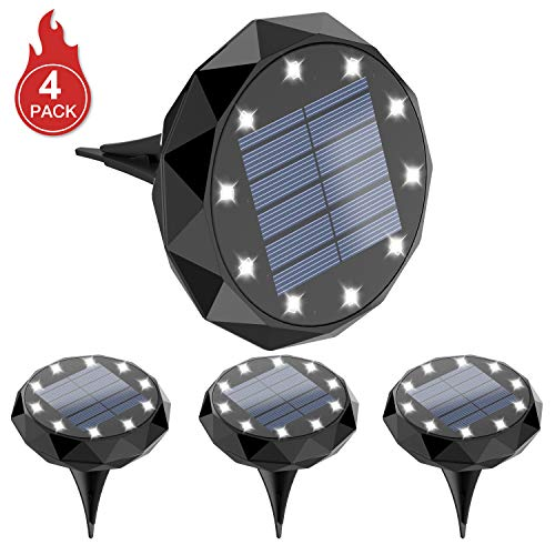 Leknes Solar Ground Lights Upgrade Solar Powered Solar Garden Lights Solar Disk Lights Outdoor Waterproof Solar Landscape Lighting Auto On Off With Sensor For Patio Pathway Garden Lawn Yard 4 Pack