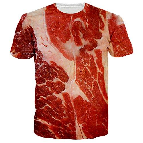 (RAISEVERN Unisex Meat Pattern 3D Print Humour Short Sleeve T Shirts Tee XXX-Large )
