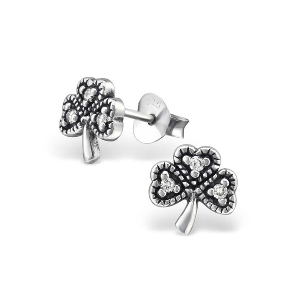 Clover Cubic Zirconia Ear Studs 925 Sterling Silver With Handmade Prong Setting For Women and Girls