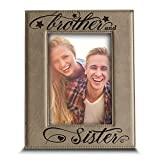 BELLA BUSTA- Brother and Sister Photo Frame- Sibling Gift for Parents - Engraved Leather Picture Frame (4'x 6' Vertical)