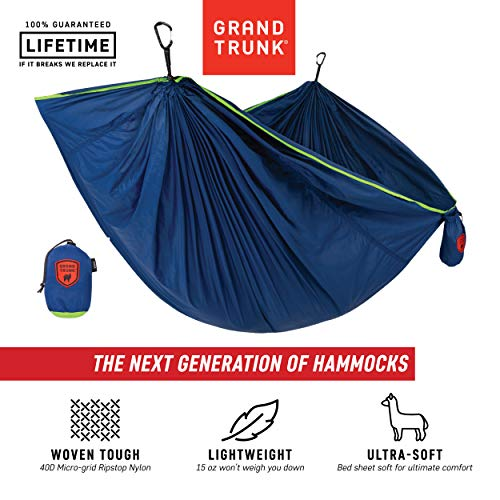 Grand Trunk Trunk Tech Single Hammock, Navy/Green: Strong, Light, and Portable - Perfect for Outdoor Adventures, Backpacking, and Festivals