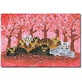 猫の足あと ポストカード 「さくらの木の下で」
