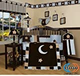 GEENNY 13 Piece Crib Bedding Set, Brown/Blue Star and Moon