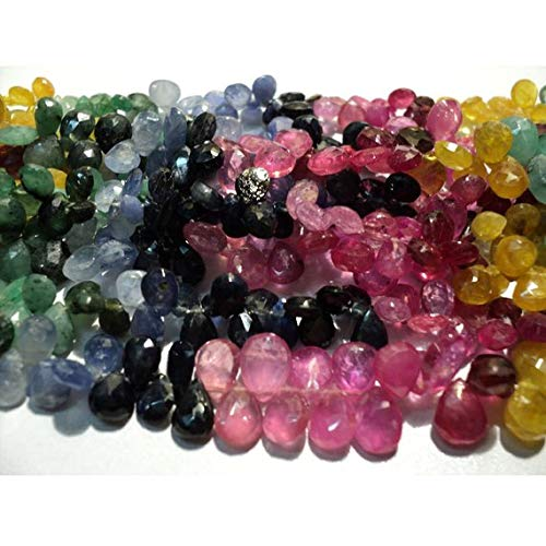 KALISA GEMS Beads Gemstone 1 Strand Natural Beautiful Multi Gemstone (Ruby, Sapphire, Emerald) Faceted Pear Shaped Briolettes - 5x6mm to 7x10mm - 80 Pieces - 9 Inch