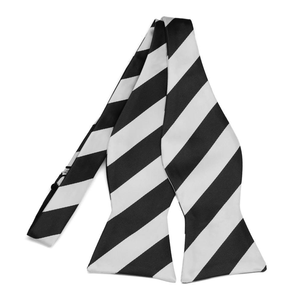 TieMart Black and Pale Silver Striped Self-Tie Bow Tie