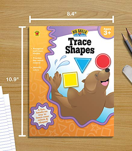Big Skills for Little Hands® Trace Shapes Workbook—Learning Shapes, Colors, Fine Motor Skills, Tracing Activity Book for Preschool–Kindergarten (32 pgs)