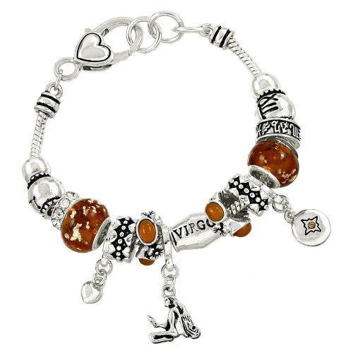 Virgo Charm Bracelet C52 Clear Crystal Amber Murano Glass Zodiac Virgin Silver Tone - Amber Murano Glass Crystal