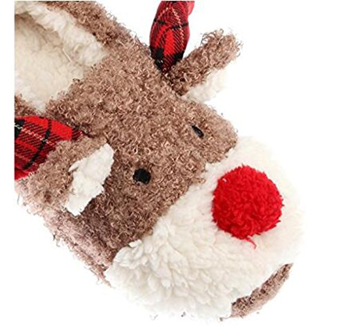 Slippers for Women, Cute Reindeer Animal Fluffy House Winter Ladies Slippers Shoes, Comfortable Non Skid Home Slippers by WAREN (Image #4)