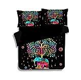 What Is a European King Size Bed KTLRR Indian Multi Color Elephant Bedding Set 3D Bohemian Mandala Duvet Cover Set Boho Bed Linen 2/3pcs Uk US CN Queen King Size for Kids (King 3PCS, Red tree elephant)