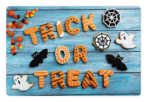 (Lunarable Halloween Pet Mat for Food and Water, Fresh Trick or Treat Gingerbread Cookies on Blue Wooden Table Spider Web Ghost, Rectangle Non-Slip Rubber Mat for Dogs and Cats,)