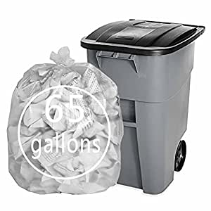 Pekky Clear 65 Gallon Large Trash Bags for Outdoor or Indoor Use, F