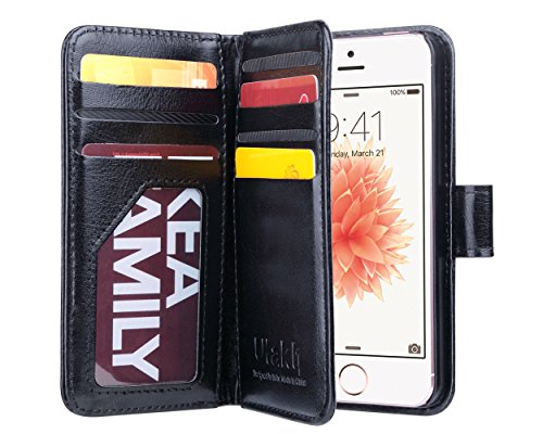 ULAK iPhone SE Case, iPhone 5 Case Black, iPhone 5s/5/SE Wallet Case, Fashion PU Leather Magnet Wallet Flip Case Cover with Built-in Credit Card/ID Card Slots for 5s 5G 5 SE,Black