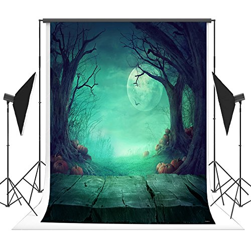 5x7ft Green Night Photo Backgrounds Wrinkle free Pumpkin Jungle and Full Moon on Sky Photography Backdrops for Halloween (Next New Moon On Halloween)