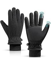 Men Women Winter Gloves Hlinker -30℉ Thermal Sports Gloves Outdoor Wear-Resistant Polar Fleece Faux Leather Palm