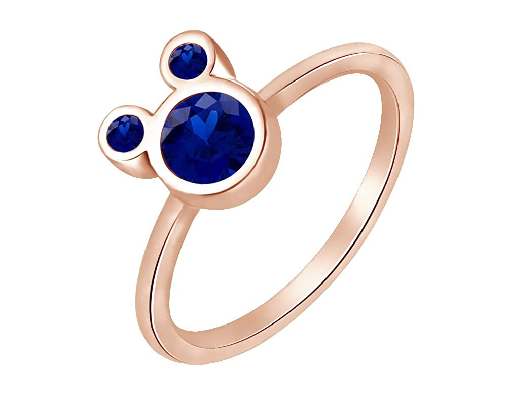 Wishrocks 925 Sterling Silver Simulated Blue Sapphire Mickey Mouse Ring Party Jewelry for Women /& Girl