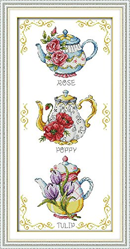 Count Stamped Cross Stitch (Joy Sunday® Cross Stitch Kit 11CT Stamped Embroidery Kits Precise Printed Needlework- Teapot 36×70CM)