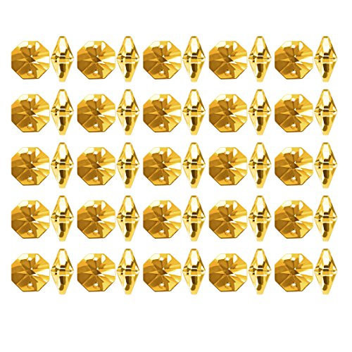 uxcell 50Pcs Crystal Glass Beads Gold Tone Octagonal Drops Chandelier Pendants Decoration for DIY Light Accessories 148mm