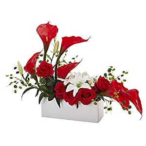 Nearly Natural 1639-RD Mixed Lily and Rose Artificial Silk Arrangements, Red 54