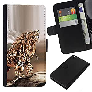 Planetar® Modelo colorido cuero carpeta tirón caso cubierta piel Holster Funda protección Para HTC DESIRE 816 ( Gold Dragon Poker tigre del metal Escultura )