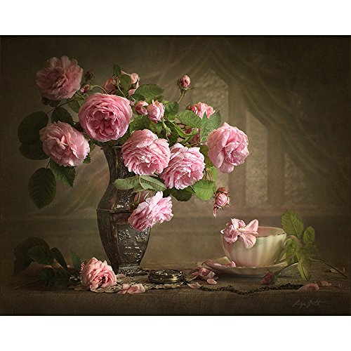 Paint by Number Kits 16 x 20 inch Canvas DIY Oil Painting with Brushes and Pigment (with Frame), Romantic Pink Flower Vase DIY Paint by Numbers Framed Oil Painting Wall Decor